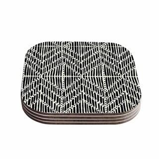 Kess InHouse DLKG Design 'Tribal Drawings' Chevron Black Wood Coasters (Pack of 4)