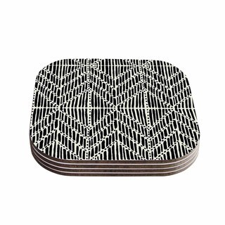 Kess InHouse DLKG Design 'Tribal Drawings' Chevron Black Wood Coasters (Pack of 4)