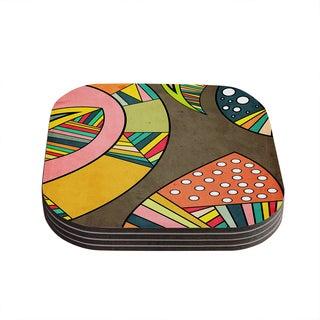 Kess InHouse KESS InHouse Cosmic Aztec Multicolor Wood Coasters (Set of 4)