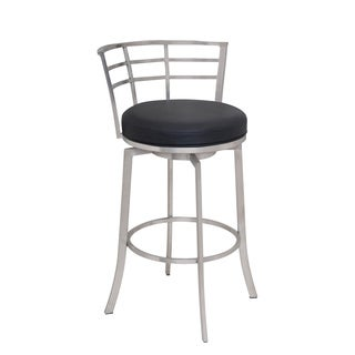 Armen Living Viper Brushed Stainless Steel/Faux Leather Swivel Barstool
