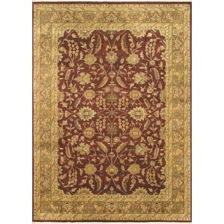 ecarpetgallery Hand-knotted Jamshidpour Beige and Red Wool Rug (8'6 x 11'9)