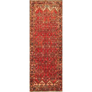 ecarpetgallery Hand-knotted Hosseinabad Red Wool Rug (3'9 x 10'11)