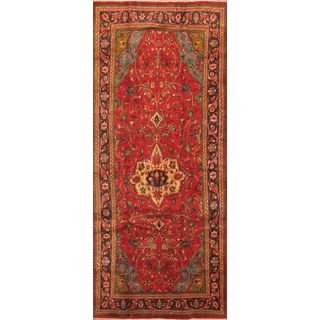 ecarpetgallery Red Hand-knotted Sarough Wool Rug (4'7 x 10'11)