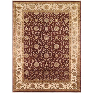 eCarpetGallery Red/Beige Wool and Silk Hand-knotted Rug (9'1 x 12'2)