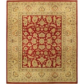 ecarpetgallery Hand-knotted Chobi Finest Beige and Red Wool Rug (8'1 x 9'7)