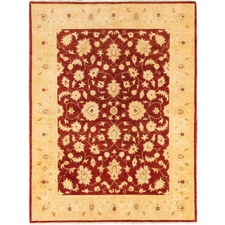 ecarpetgallery Hand-knotted Chobi Finest Beige and Red Wool Rug (5' x 6'6)