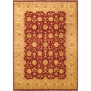 eCarpetGallery Chob iHand-knotted Beige/Red Wool Rug (8'3 x 11'8)