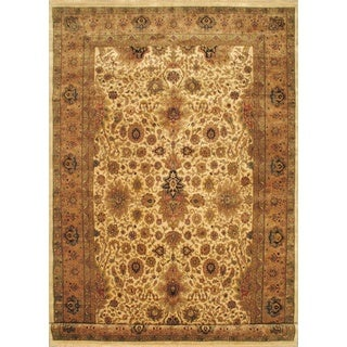 ecarpetgallery Hand-knotted Mirzapur Beige and Brown Wool Rug (11'4 x 18'1)