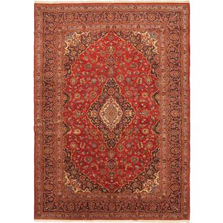 ecarpetgallery Hand-knotted Kashan Red Wool Rug (9'6 x 13'7)