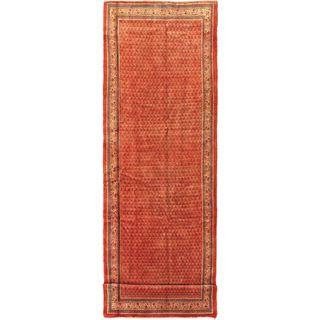 ecarpetgallery Hand-knotted Arak Beige and Brown Wool Rug (4' x 13'4)