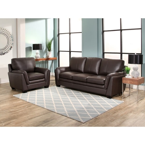 shop abbyson bella brown top grain leather 2 piece living room set on sale free shipping. Black Bedroom Furniture Sets. Home Design Ideas