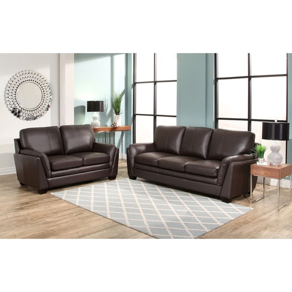 Abbyson Bella Brown Top Grain Leather 2 Piece Living Room Set Part 68