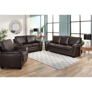 Abbyson Bella Brown Top Grain Leather 3 Piece Living Room Set