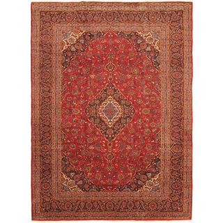 eCarpetGallery Kashan Blue/Red/Cream/Gold/Green Wool and Cotton Hand-knotted Oriental Rug (9'6 x 12'11)