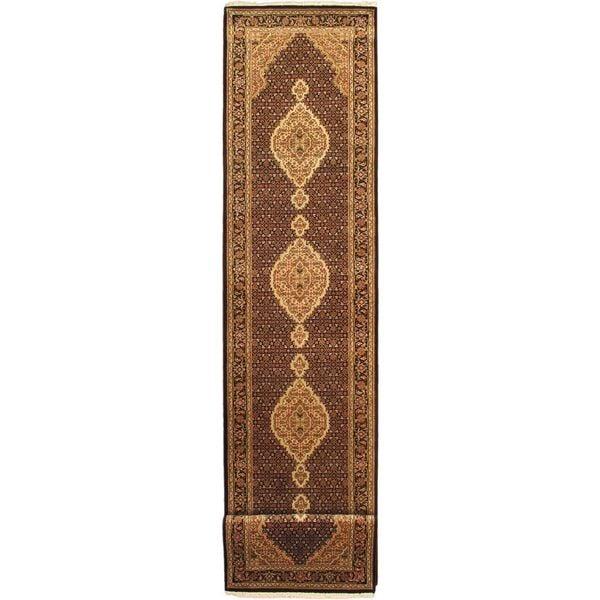 ecarpetgallery Tabriz Haj Jalili Black/Beige/Copper/Red Hand-knotted Wool Rug (2'10 x 18'4)