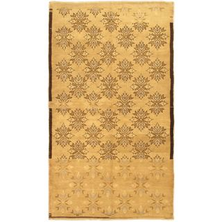 ecarpetgallery Hand-knotted Melis Brown/Yellow Wool Rug (4'10 x 8'7)