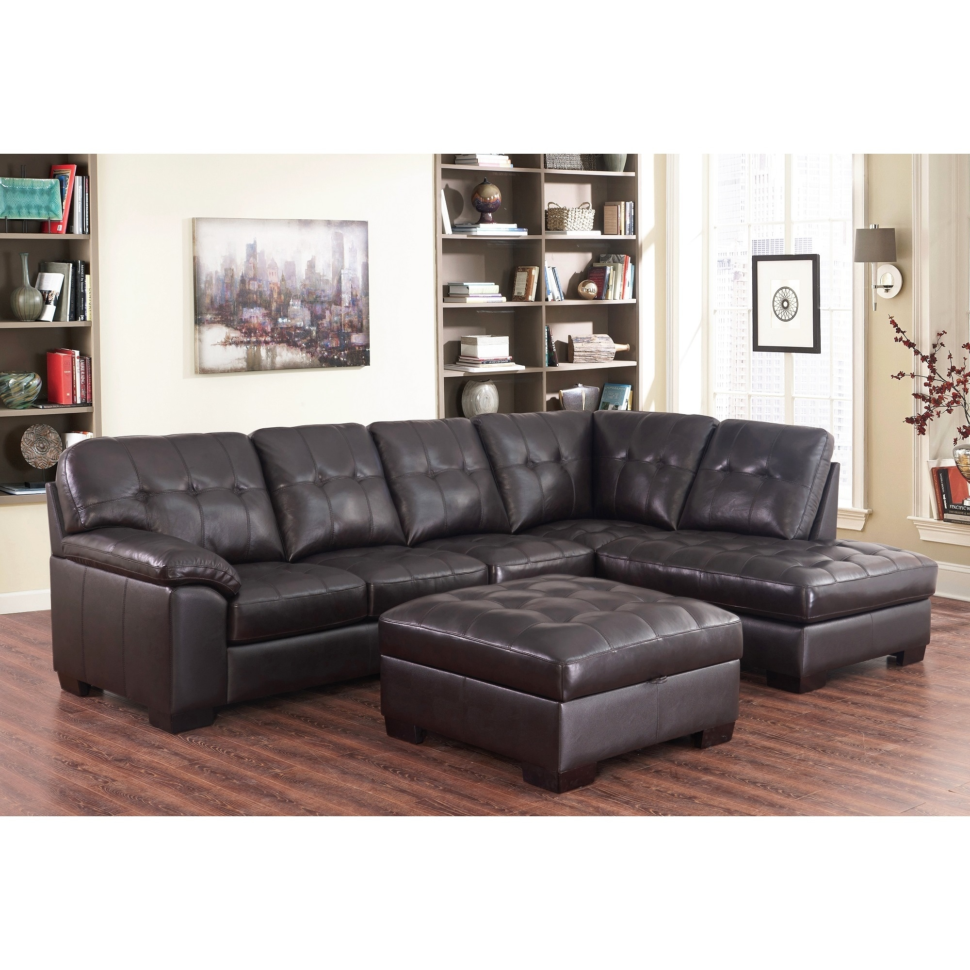 Peachy Abbyson Manhattan Espresso Top Grain Leather Sectional And Ottoman Gamerscity Chair Design For Home Gamerscityorg