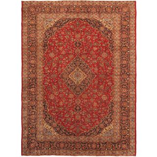 ecarpetgallery Hand-knotted Kashan Blue and Red Wool Rug (9'10 x 13'2)