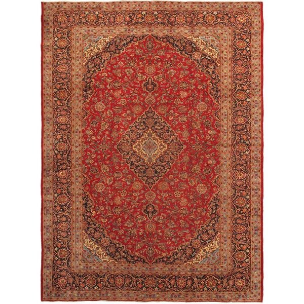 Shop Ecarpetgallery Hand Knotted Persian Kashan Red Wool: Shop Ecarpetgallery Hand-knotted Kashan Blue And Red Wool