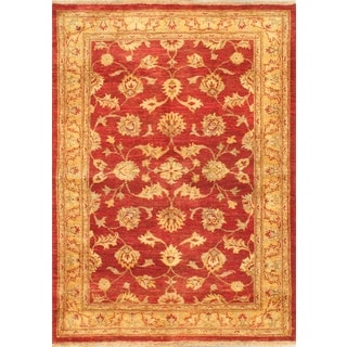 ecarpetgallery Hand-knotted Chobi Finest Red and Yellow Wool Rug (4'2 x 5'10)