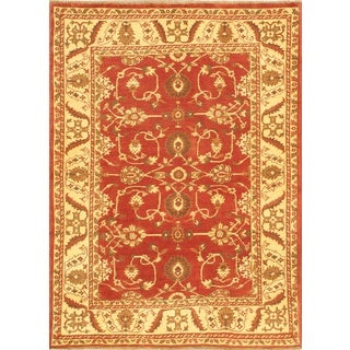ecarpetgallery Hand-knotted Chobi Finest Beige and Brown Wool Rug (4'1 x 5'7)
