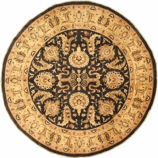 ecarpetgallery Black/Yellow Hand-knotted Chobi Finest Wool Rug (9'10 x 9'10)
