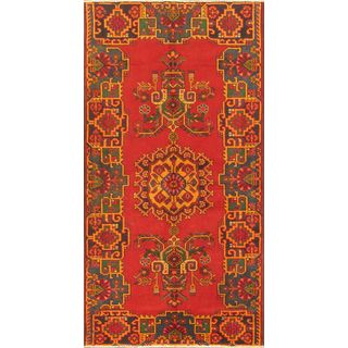 ecarpetgallery Hand-knotted Kurdish Select Green and Red Wool Rug (3'11 x 7'6)