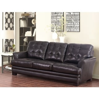 Abbyson Living Divani Espresso Top-grain Leather Sofa