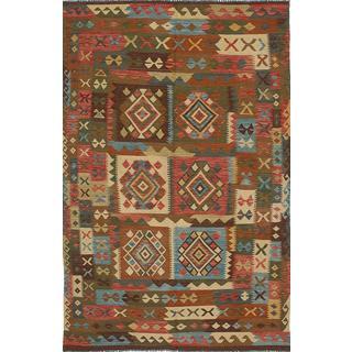 eCarpetGallery Handmade Sivas Green/Red Wool Kilim (5'11 x 9'11)