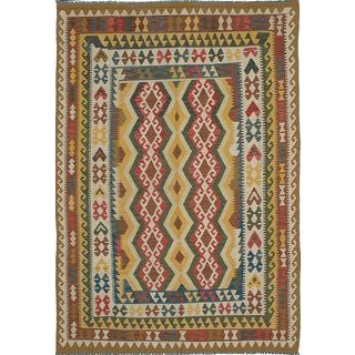 ecarpetgallery Hand-made Anatolian Yellow Wool Kilim (6'6 x 9'9)
