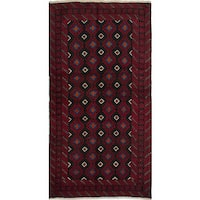 ecarpetgallery Hand-knotted Persian Finest Baluch Black and Red Wool Rug (3'3 x 6'3)