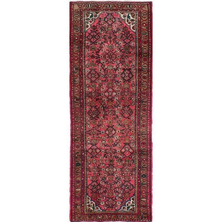 ecarpetgallery Pink Hand-knotted Persian Hosseinabad Wool Rug (3'5 x 9'9)
