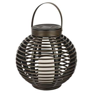Paradise GL29353BR Brown Round Solar Flickering Rattan Basket Light
