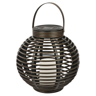 Paradise GL29353BR Brown Round Solar Flickering Rattan Basket Light