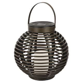 Shop paradise outdoor lighting discover our best deals at paradise gl29353br brown round solar flickering rattan basket light aloadofball Images