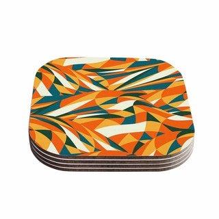 Kess InHouse Danny Ivan 'Astro Naive' Orange Green Coasters (Set of 4)