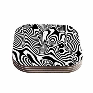 Kess InHouse Danny Ivan 'Trippy' Black White Coasters (Set of 4)