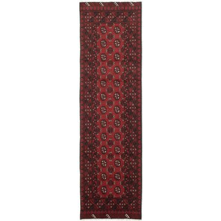 eCarpetGallery Red Hand-knotted Khal Mohammadi Wool Rug (2'7 x 9'3)