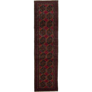 eCarpetGallery Red Hand-knotted Teimani Wool Rug (2'6 x 9'7)