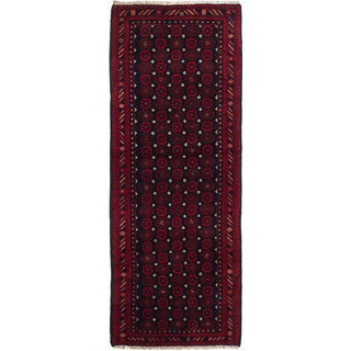 ecarpetgallery Hand-knotted Rizbaft Blue/Red Wool Rug (2'5 x 6'6)
