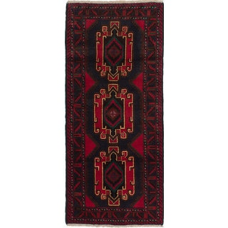 ecarpetgallery Hand-knotted Royal Baluch Blue and Red Wool Rug (2'8 x 6'3)