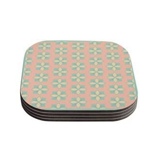 Kess InHouse Deepti Munshaw 'Pattern #1' Green Beige Coasters (Set of 4)