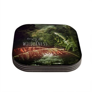 Kess InHouse Deepti Munshaw 'Escape to Wilderness' Forest Quote Coasters (Set of 4)