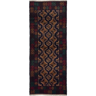 eCarpetGallery Blue Hand-knotted Rizbaft Wool Rug (2'8 x 6'8)
