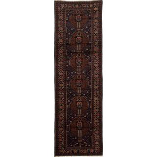 ecarpetgallery Hand-knotted Rizbaft Blue and Brown Wool Rug (2'11 x 9'8)