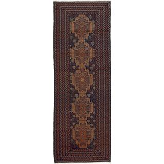 ecarpetgallery Hand-knotted Royal Baluch Blue and Brown Wool Rug (3'1 x 8'11)