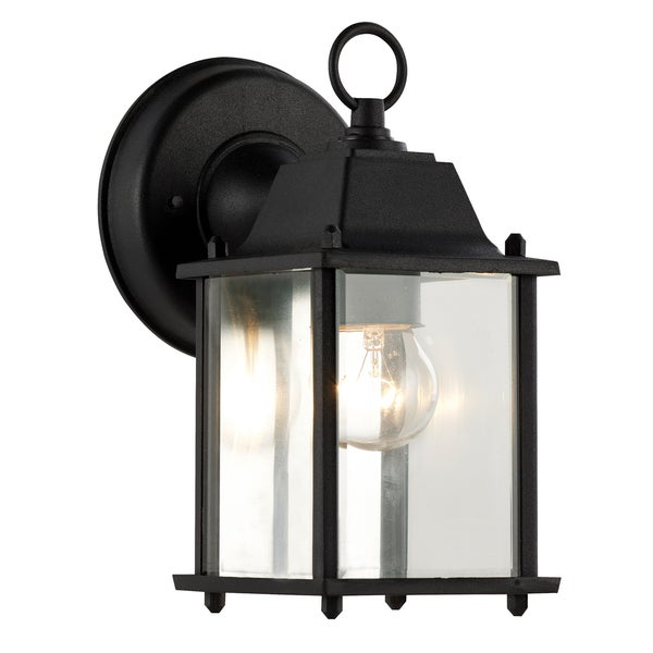 Bel Air Lighting CB 40455 BK 1 Light Porch Light With Clear Beveled Glass