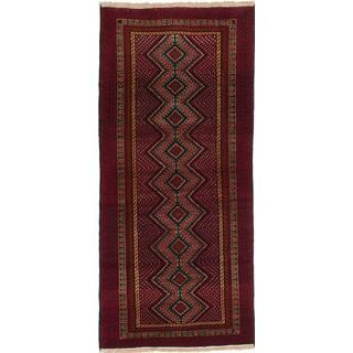 eCarpetGallery Hand-knotted Rizbaft Red Wool Rug (2'11 x 7')