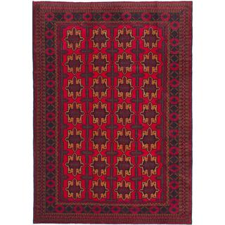 ecarpetgallery Hand-knotted Finest Rizbaft Red Wool Rug (7' x 10'2)