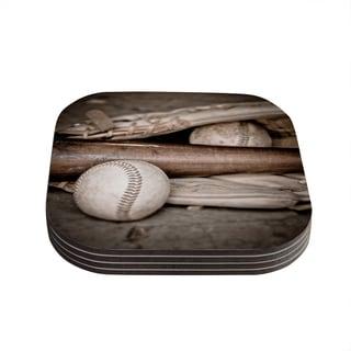 Kess InHouse Debbra Obertanec 'Play Ball' Baseball Coasters (Set of 4)